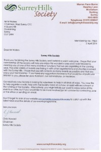 Surrey Hills Soc Welcome Letter April 2014