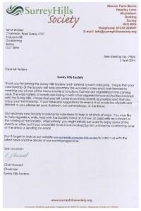 Surrey Hills Soc Welcome Letter April 2014