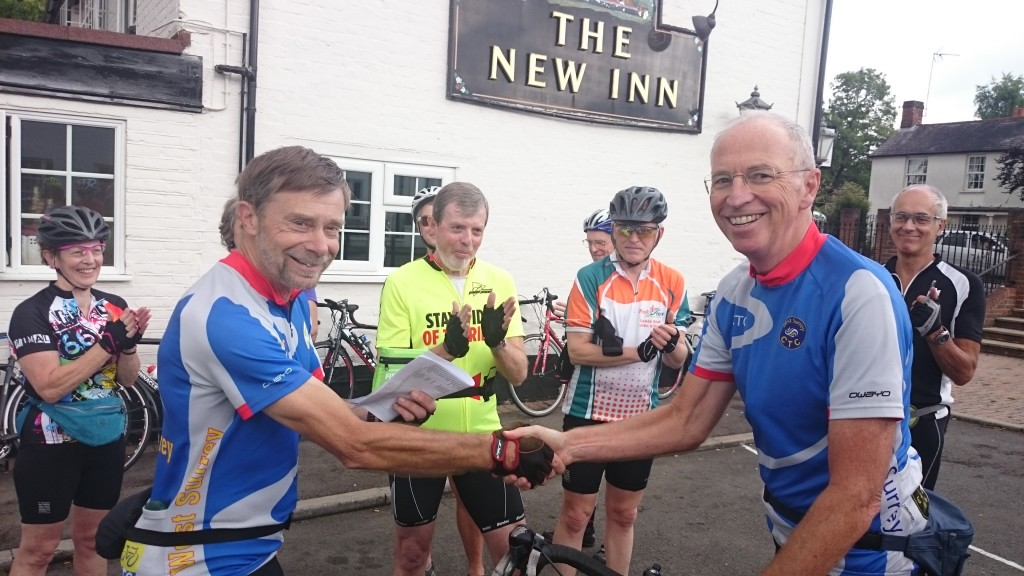 John Murdoch welcoming Phil Gasson as a new ride leader